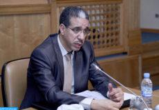 Conférence de presse, lundi (07/10/13) à Rabat, du ministre de l'Equipement et du transport, Aziz Rebbah.