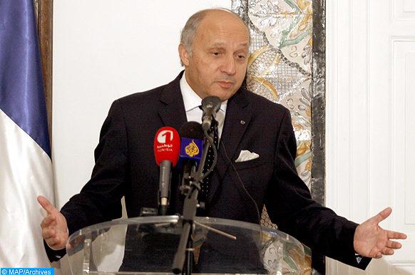 Intervention du Ministre Français des Affaires Etrangères, Laurent Fabius, mardi (14/05/13) à Tunis, lors d'une conférence de Presse à la résidence de l'Ambassade de France.