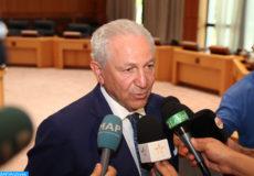 M. Aziz Mekouar, membre du Comité de pilotage de la COP22, ambassadeur pour la négociation multilatérale, donne, vendredi (09/09/16) à Skhirat, une déclaration à la presse à l'occasion de la clôture des consultations informelles entre les parties dans le cadre des préparatifs de la COP22.