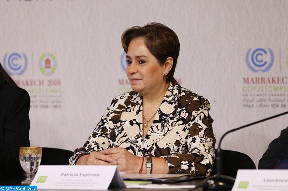 """La secrétaire exécutive de la Convention-cadre des Nations unies sur les changements climatiques, Patricia Espinosa, intervenant, vendredi (11/11/16) à Marrakech, lors du lancement, par Anne Hidalgo, Maire de Paris, de l'initiative """"Women4Climate"""" afin de renforcer le leadership féminin face aux changements climatiques."""