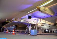 Cérémonie, mercredi (06/06/12) sous les ailes de l'avion solaire expérimental suisse, Solar impulse, à l'aéroport de Rabat-Salé, en présence d'éminentes personnalités du monde politique et économique.