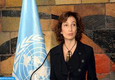 La directrice générale de l'Organisation des Nations Unies pour l'Education la Science et la Culture (UNESCO), Mme Audrey Azoulay , intervenant , vendredi ( 10/11/17) à Paris , lors de la 39-ème Conférence générale de l'UNESCO suite à la confirmation de sa nomination à la tête de cette organisation.