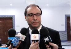 """Le ministre de l'Industrie, du commerce et des nouvelles technologies, Abdelkader Amara, donne une déclaration à la presse, lundi (14/01/13) à Rabat, à l'issue de la première réunion du groupe de travail public-privé sur """"l'entreprise et son environnement extérieur""""."""