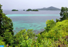 epa02779965 A picture dated 03 June 2011 shows a view of the Coiba National Park, a group of volcanic islands located in the Panamanian Pacific which is a natural jewel, declared a World Heritage Site by Unesco in 2005, which according to local researchers on 14 June 2011 requires the urgent implementation of a management plan to prevent the degradation of particular biodiversity.  EPA/ALEJANDRO BOLIVAR