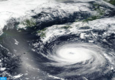 epa06961402 A handout photo made available by NASA shows an image acquired by the Visible Infrared Imaging Radiometer Suite (VIIRS) on board the joint NASA/NOAA Suomi National Polar-orbiting Partnership (SNPP) satellite of Typhoon Soulik approaching the Korean Peninsula, 20 August 2018 (issued 21 August 2018). According to media reports, Typhoon Soulik will make a direct pass over the Korean Peninsula on the night of 22 August 2018 as it is expected to strengthen to Category 3.  EPA-EFE/NASA HANDOUT  HANDOUT EDITORIAL USE ONLY/NO SALES