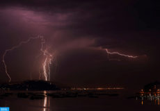 epa06997927 Lightning strike the city of Vigo during a thunderstorm, in the northwestern province of Galicia, Spain, late 04 September 2018 (issued 05 September 2018). The southern part of Galicia was struck the last night by hundreds of lightning during a thunderstorm.  EPA-EFE/SXENICK