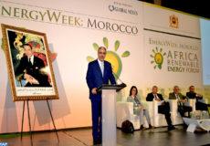 """Le ministre de l'Energie, des Mines et du Développement Durable, Aziz Rebbah , intervenant , mercredi (14/11/18) à Marrakech , lors de l 'ouverture des travaux de """"Energy Week Morocco"""", un événement dédié aux opportunités d'investissement dans le secteur gazier et les énergies renouvelables en Afrique du Nord et de l'Ouest."""