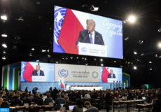 epa07205587 Antonio Guterres, UN Secretary General, speaks during the COP24 United Nations Climate Change Conference in Katowice, Poland, 03 December 2018.  EPA-EFE/PETER KLAUNZER