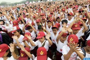 Des élèves indonésiens célébrant la journée mondiale du lavage des mains