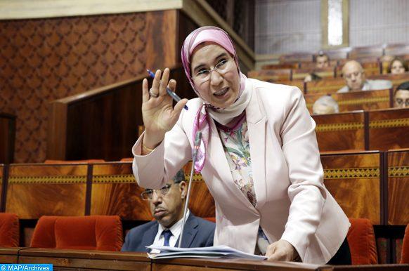 La secrétaire d'État chargée du Développement durable, Nezha El Ouafi , intervenant,  mardi  (08/08/17) à Rabat, lors d'une séance de questions orales à la Chambre des représentants