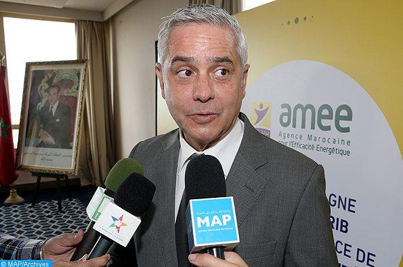 Le Directeur général de l'AMEE, Said Mouline , donne , mardi (13/11/18) à Rabat , une déclaration à la presse , en marge de la cérémonie de signature  d'une convention de partenariat entre Barid-Al-Maghrib et l'AMEE relative à la mise en place de la politique d'efficacité énergétique dans les domaines de la mobilité verte, de l'éclairage et du bâtiment.