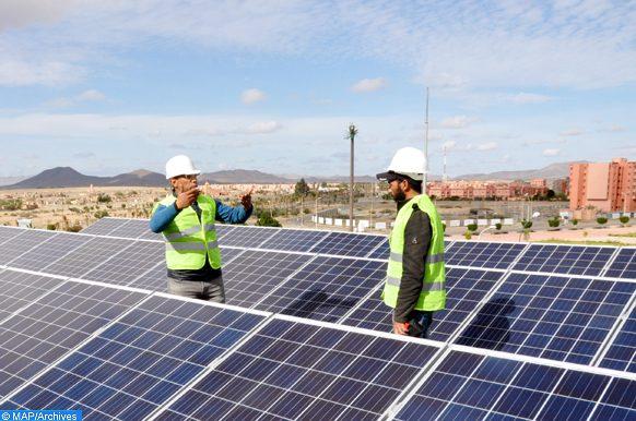 Energie solaire photovoltaïque, énergie renouvelable, énergie solaire, jeudi (15/12/16)la ville nouvelle de Tamansourt près de Marrakech.