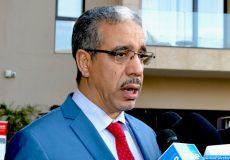 Le ministre de l'Énergie, des Mines, de l'Eau et du Développement durable,  Aziz Rebbah, donne, mercredi (06/02/19) à Marrakech, une déclaration à la presse à l'issue de sa participation au 2è sommet marocain du pétrole et du gaz