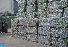 epa07482482 PET bottles, pictured on the occassion of the official opening of the new PET recycling plant of Poly Recycling AG, in Bilten, Switzerland, 03 April 2019. It is said to be the most modern PET recycling plant in Europe.  EPA-EFE/GIAN EHRENZELLER