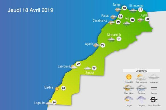 Prévisions météorologiques de ce jeudi 18 avril 2019 et la nuit suivante