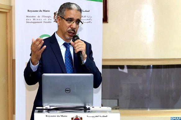 Le Ministre de l'Énergie, des Mines et du Développement Durable, M. Aziz Rabbah, intervenant, mardi (07/05/2019) à Rabat, lors de la présentation de la seconde revue en profondeur de la politique énergétique nationale