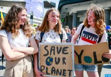 epa07597188 People take part in a demonstration called 'Global Strike for Climate 2' in Brussels, Belgium, 24 May 2019. Youth and students across the world are taking part in a student strike movement called #FridayForFuture which was sparked by Greta Thunberg of Sweden, a sixteen year old climate activist who has been protesting outside the Swedish parliament every Friday since August 2018.  EPA-EFE/STEPHANIE LECOCQ