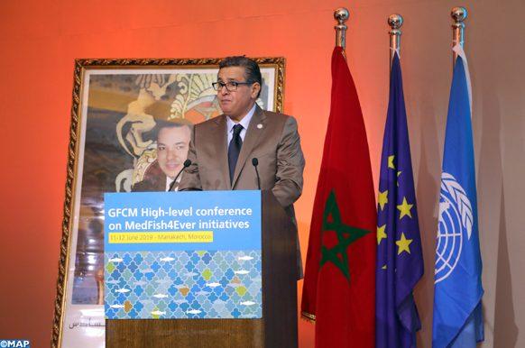 """Le ministre de l'Agriculture, de la Pêche maritime, des Eaux et Forêts et du Développement durable, Aziz Akhannouch, dans une allocution à l'ouverture, mercredi (12/06/19) à Marrakech, de la Conférence de haut niveau de la Commission Générale des Pêches pour la Méditerranée (CGPM) sur les initiatives """"MedFish4Ever"""""""