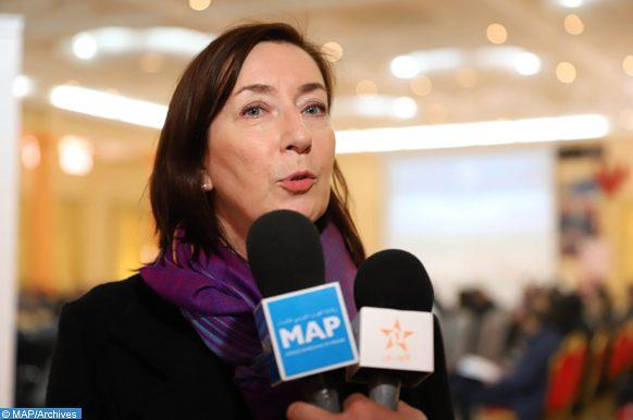 La Représentante Résidente du PNUD au Maroc, Martine Therer, donne, vendredi (01/02/19) à Errachidia, une déclaration à la presse, en marge de la réunion du comité de pilotage du Programme de Valorisation Durable des Ksour et Kasbah du Maroc.