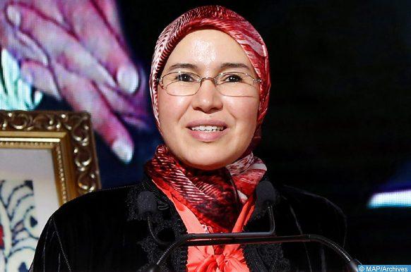 La Secrétaire d'Etat chargée du Développement Durable, Mme Nezha El Ouafi, intervenant, mercredi (17/04/19) à Marrakech, lors de l'ouverture des travaux de la 5ème session du Forum Régional Africain sur le Développement Durable (FRADD).