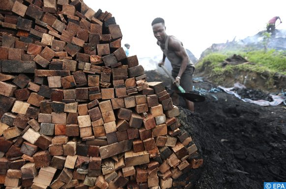 epa06070830 A man works in a charcoal factory near Abidjan, Ivory Coast, 06 July 2017. Charcoal is one of the main sources of domestic energy in  Ivory Coast. In 2002, it accounted for 20 per cent of national fuel consumption and at least 47per cent of urban population consumption. With the urbanization rate rising from 44.9 per cent in 2002 to 52 per cent in 2012 and subsidies for butane gas decreasing, this has led to high demand and the use of charcoal has increased significantly over the past decade, A phenomenon that contributes significantly to deforestation in Ivory Coast.  Covered with 16 million hectares of forests in 1900,  Ivory Coast now has less than 3.5 million. The government is aware of the environmental and economic consequences and has joined the International Mechanism for Reducing Greenhouse Gas Emissions from Deforestation and Forest Degradation as set forth in the framework of the UN Convention on Climate Change.  EPA/LEGNAN KOULA