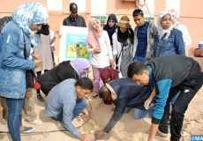 """Mise en place d'un réseau d'irrigation """"goutte-à-goutte"""", avec la participation des enseignants- stagiaires, et avec l'encadrement de la direction provinciale des eaux et forêts et de la lutte contre la désertification. 15022020-Tata"""